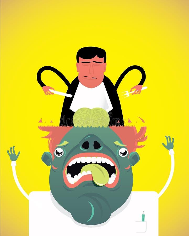 Τρόφιμα εγκεφάλου, παράξενα, άτομο με μια λοβοτομή, διανυσματική απεικόνιση στοκ φωτογραφία