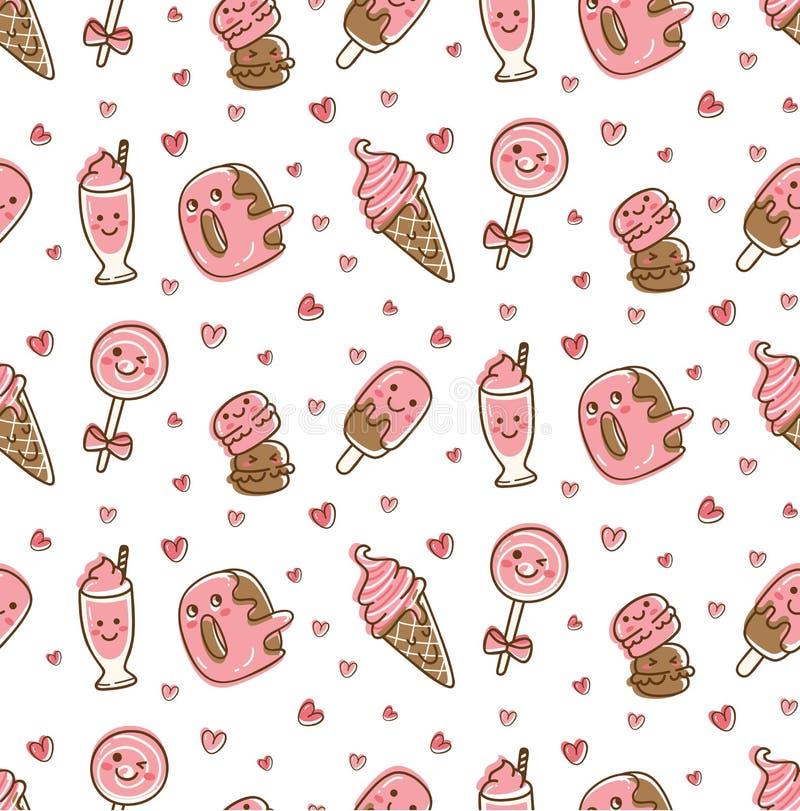 Τρόφιμα επιδορπίων και άνευ ραφής σχέδιο ποτών στη διανυσματική απεικόνιση ύφους kawaii doodle διανυσματική απεικόνιση