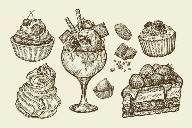 Τρόφιμα, επιδόρπιο Συρμένο χέρι παγωτό, μαρέγκα, cupcake, σοκολάτα, κομμάτι του κέικ, ζύμη, καραμέλα, muffin Διάνυσμα σκίτσων απεικόνιση αποθεμάτων