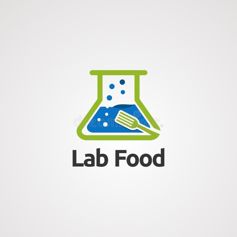 Τρόφιμα εργαστηρίων με τη διανυσματικό έννοια λογότυπων νερού και δικράνων φυσαλίδων, το εικονίδιο, το στοιχείο, και το πρότυπο γ ελεύθερη απεικόνιση δικαιώματος