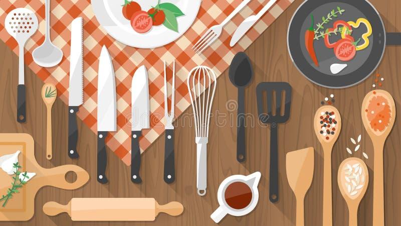 Τρόφιμα και μαγειρεύοντας έμβλημα απεικόνιση αποθεμάτων