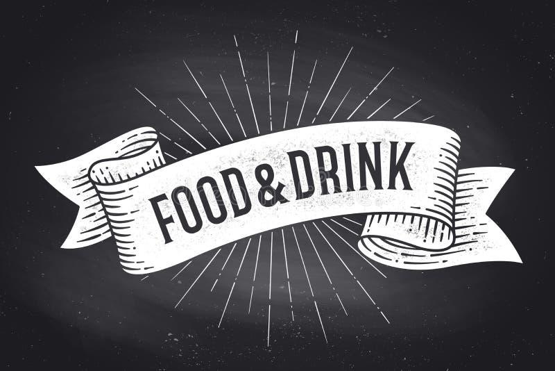 Τρόφιμα και ποτό Εκλεκτής ποιότητας έμβλημα κορδελλών παλιού σχολείου διανυσματική απεικόνιση