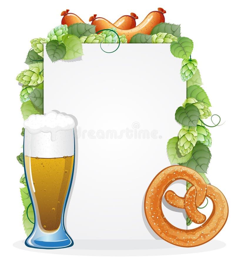 Τρόφιμα και ποτό Oktoberfest με τους λυκίσκους διανυσματική απεικόνιση