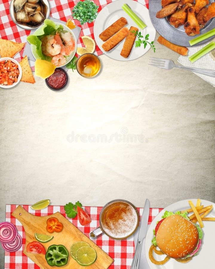 Τρόφιμα κουζίνας πικ-νίκ φραγμών τέχνης υποβάθρου απεικόνιση αποθεμάτων