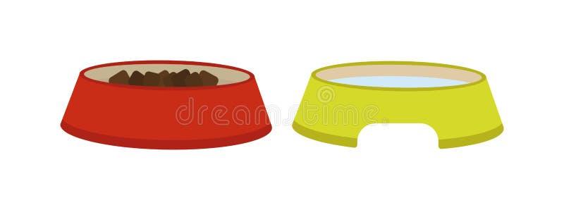 Τρόφιμα πιάτων σκυλιών κύπελλων ζωοτροφών διανυσματική απεικόνιση πιάτων πρόχειρων φαγητών γεύματος στην κυνοειδή διανυσματική απεικόνιση