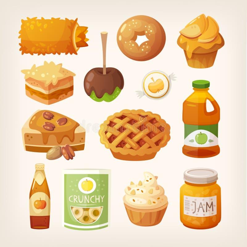 Τρόφιμα που γίνονται από τα μήλα διανυσματική απεικόνιση