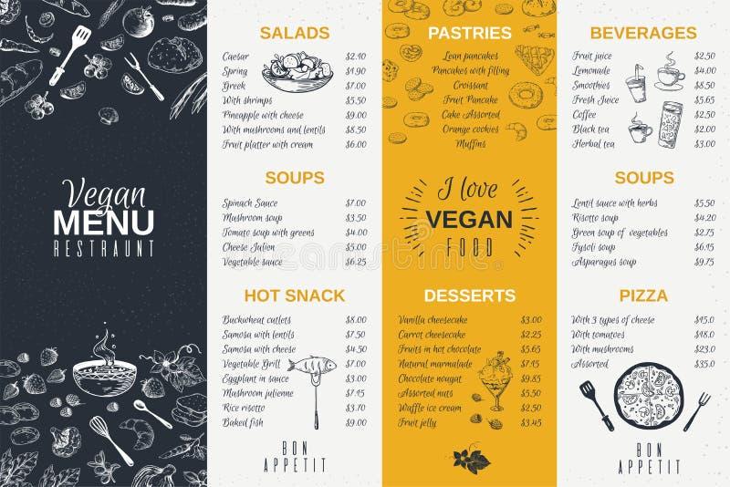 Συρμένες χέρι επιλογές εστιατορίων Τρόφιμα που μαγειρεύουν το εκλεκτής ποιότητας πρότυπο, doodle ιπτάμενο καφέδων προγευμάτων και ελεύθερη απεικόνιση δικαιώματος