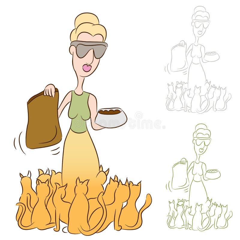 τρόφιμα σίτισης γατών τα γυ&n απεικόνιση αποθεμάτων