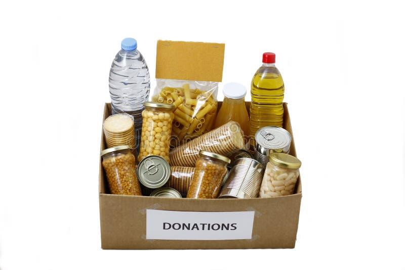 Τρόφιμα σε ένα κιβώτιο δωρεάς στοκ φωτογραφία με δικαίωμα ελεύθερης χρήσης