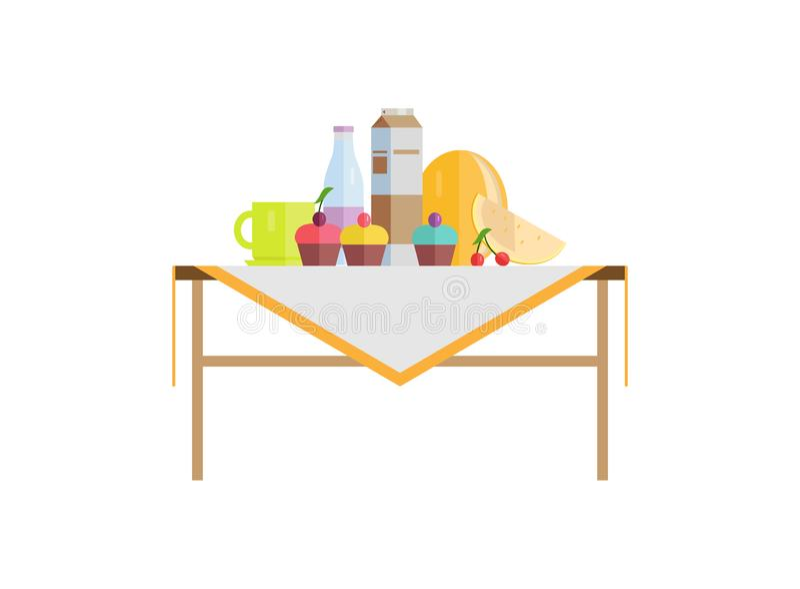 Τρόφιμα στον πίνακα με γλυκό Cupcakes και γάλα στο πακέτο ελεύθερη απεικόνιση δικαιώματος