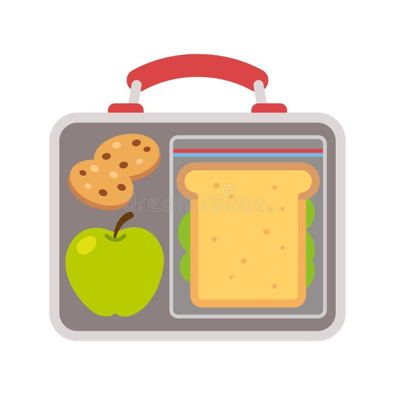 Τρόφιμα σχολικού μεσημεριανού γεύματος απεικόνιση αποθεμάτων