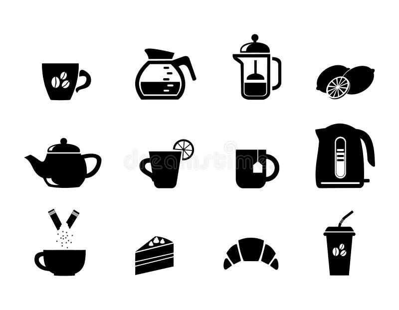 Τρόφιμα Τα τρόφιμα και τα ποτά Το τσάι και ο καφές Επιδόρπιο Τα εικονίδια καθορισμένα διανυσματική απεικόνιση