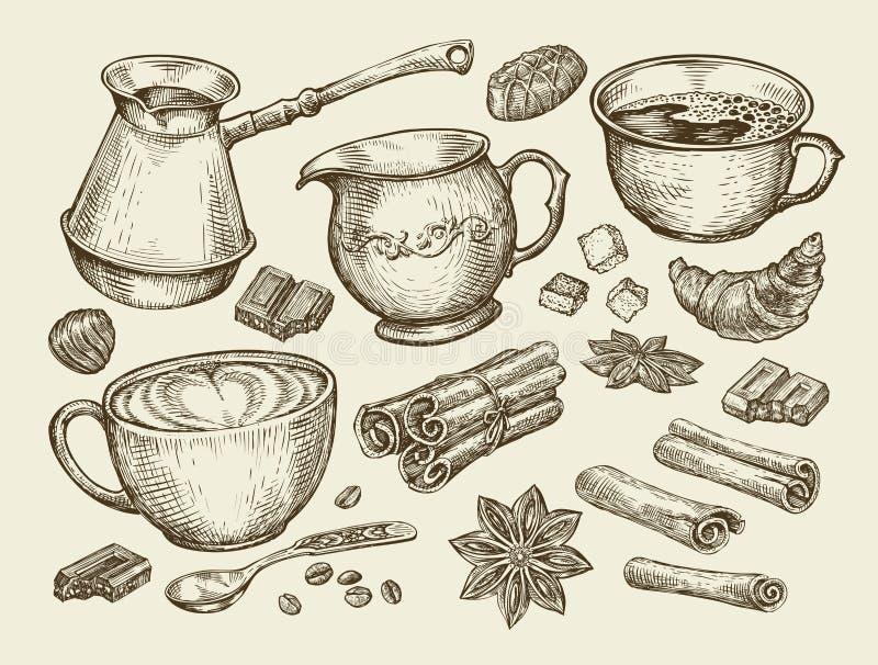 Τρόφιμα, τσάι, καφές Συρμένο χέρι φλυτζάνι, κανέλα, γλυκάνισο, κορφολόγος, κουταλάκι του γλυκού, croissant, ζάχαρη, φασόλια, σοκο ελεύθερη απεικόνιση δικαιώματος