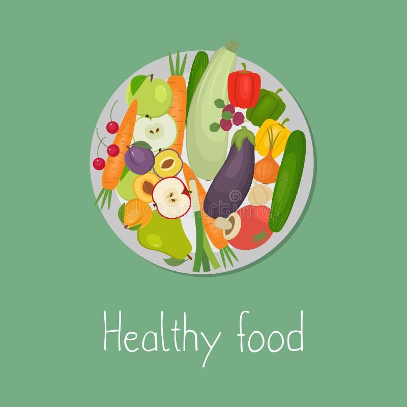 τρόφιμα υγιή Πιάτο με τα λαχανικά και τα φρούτα σε ένα πράσινο υπόβαθρο ελεύθερη απεικόνιση δικαιώματος