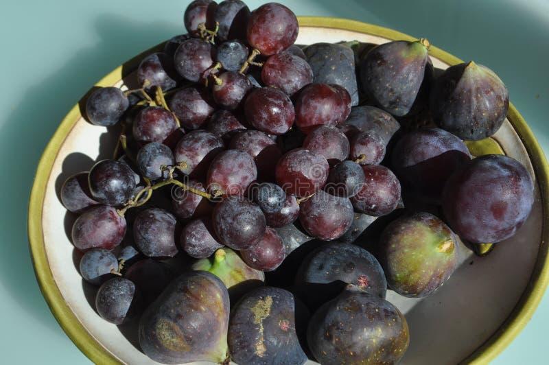 Τρόφιμα φρούτων κόκκινων σταφυλιών και σύκων στοκ φωτογραφία με δικαίωμα ελεύθερης χρήσης
