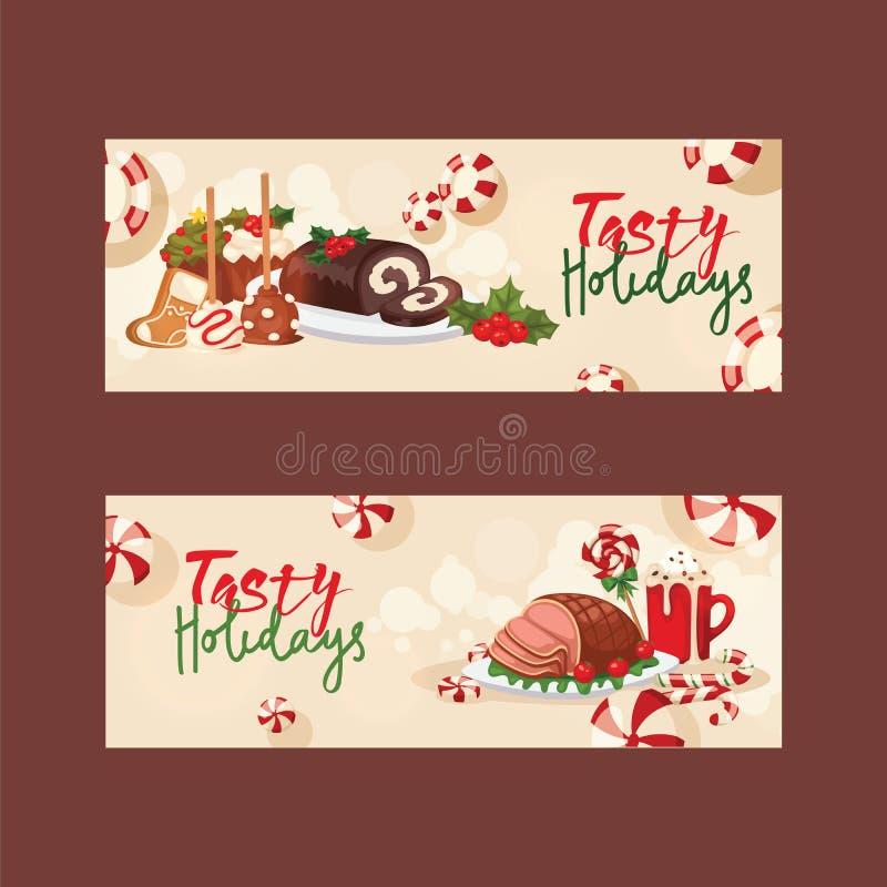 Τρόφιμα Χριστουγέννων για διακοπών διακοσμήσεων Χριστουγέννων το γλυκό χειμερινό κρέας οικογενειακών πινάκων εορτασμού διανυσματι ελεύθερη απεικόνιση δικαιώματος