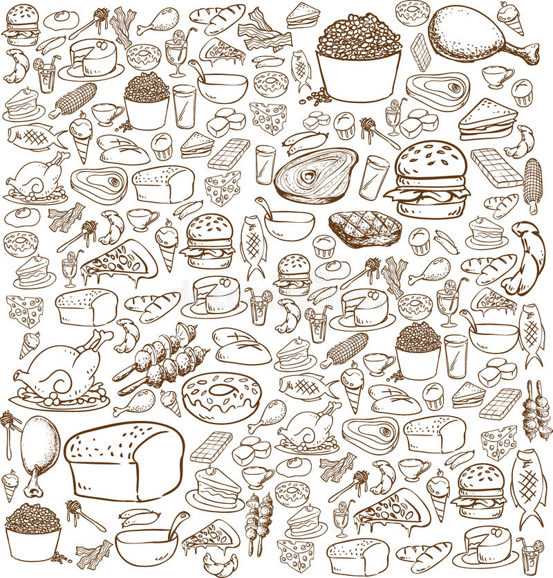 Τρόφιμα Doodle απεικόνιση αποθεμάτων