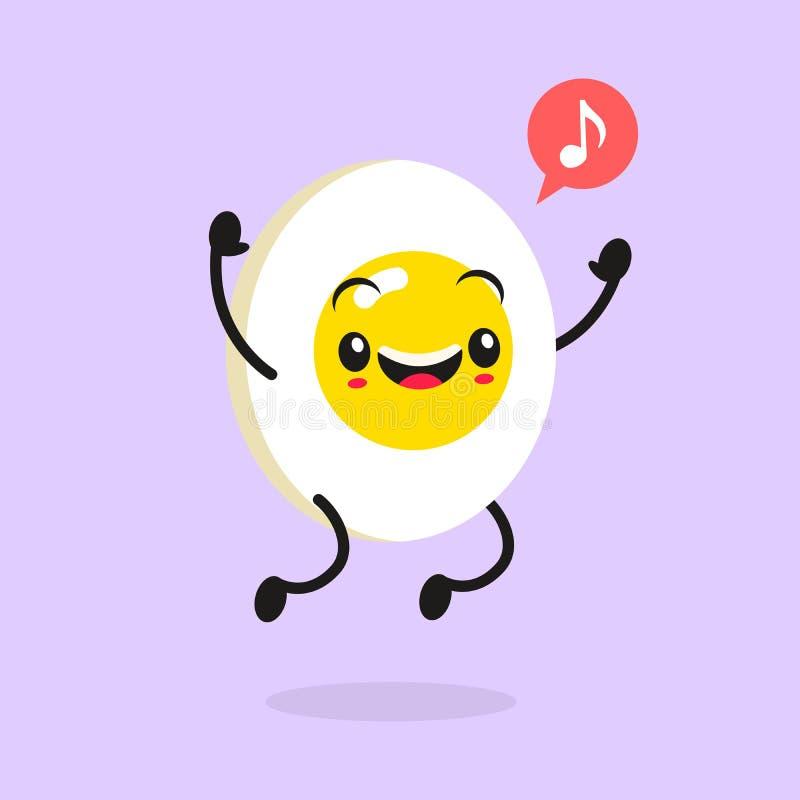 Τρόφιμα Kawaii Διανυσματικό αυγό κινούμενων σχεδίων Ευτυχής αστείος ασιατικός χαρακτήρας για τις επιλογές εστιατορίων Children' διανυσματική απεικόνιση