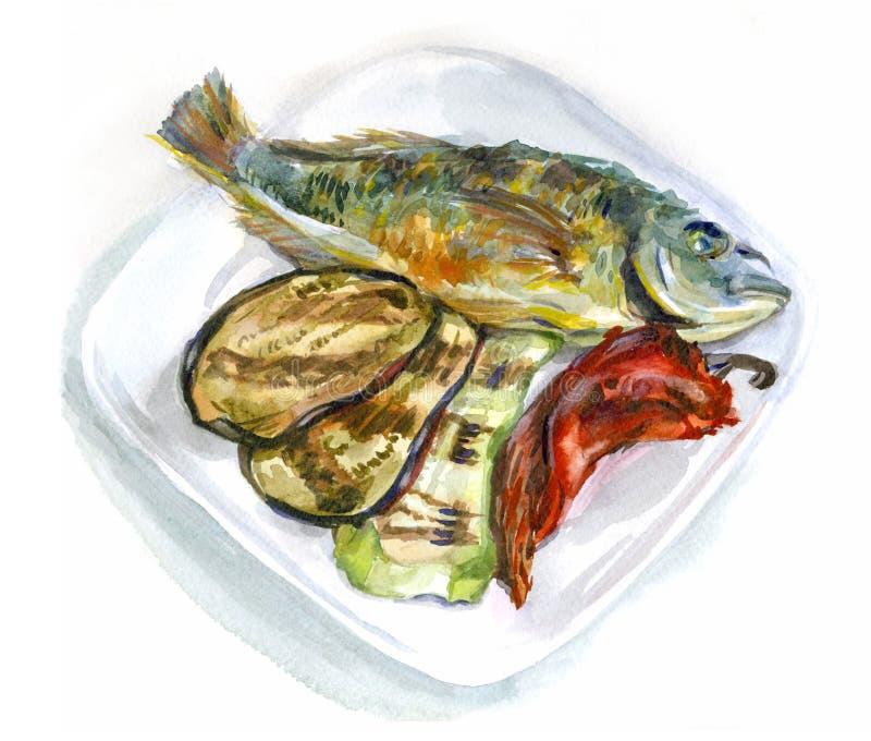Τρόφιμα Watercolor Τηγανισμένα ψάρια με τα λαχανικά σε ένα πιάτο ελεύθερη απεικόνιση δικαιώματος