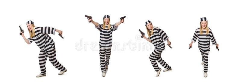 Τρόφιμος φυλακών με το πυροβόλο όπλο που απομονώνεται στο λευκό στοκ φωτογραφία με δικαίωμα ελεύθερης χρήσης