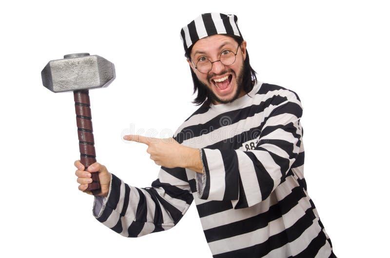 Τρόφιμος φυλακών με το σφυρί που απομονώνεται στο λευκό στοκ φωτογραφία με δικαίωμα ελεύθερης χρήσης