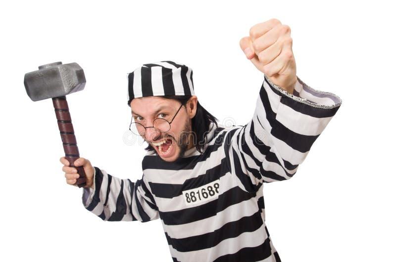 Τρόφιμος φυλακών με το σφυρί στοκ φωτογραφίες