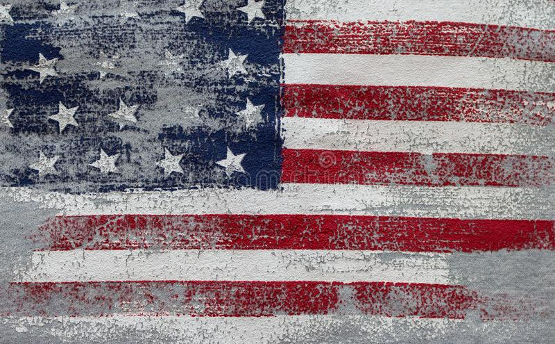 Τρύγος αμερικανικών σημαιών Εθνικό σύμβολο των ΗΠΑ θέμα λωρίδων αστεριών Ιουλίου εορτασμού τέταρτο στοκ εικόνες