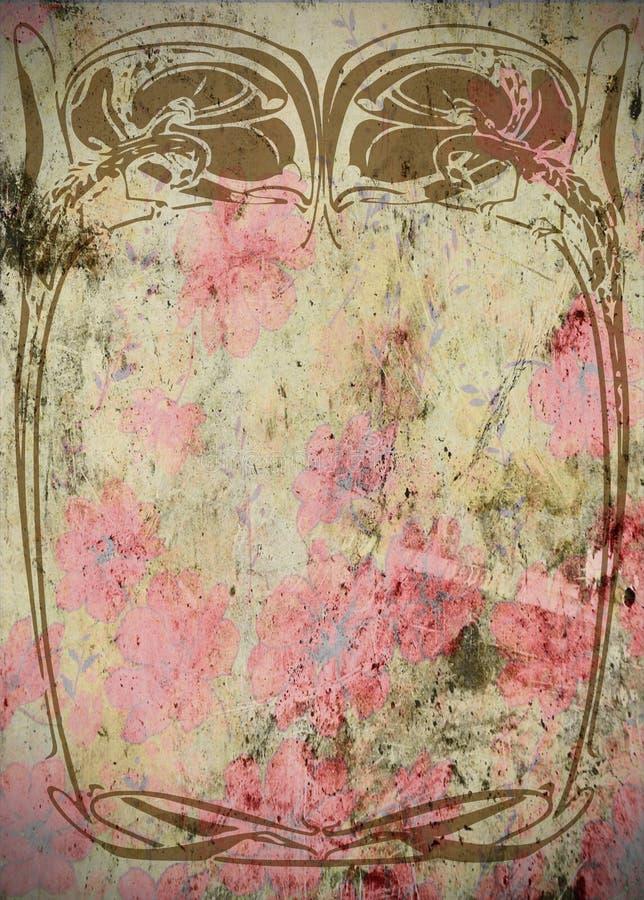 Τρύγος - βρώμικο πλαίσιο λευκώματος αποκομμάτων Nouveau τέχνης   διανυσματική απεικόνιση