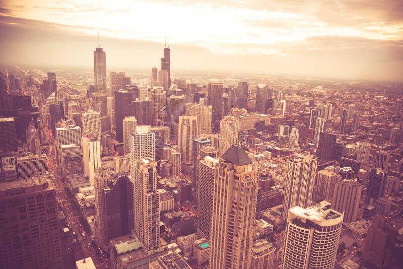 Τρύγος εικονικής παράστασης πόλης του Σικάγου Ιλλινόις που τονίζεται στοκ φωτογραφία με δικαίωμα ελεύθερης χρήσης