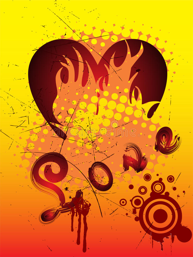 Download τρύγος καρδιών σχεδίου διανυσματική απεικόνιση. εικονογραφία από πυρκαγιά - 13183069