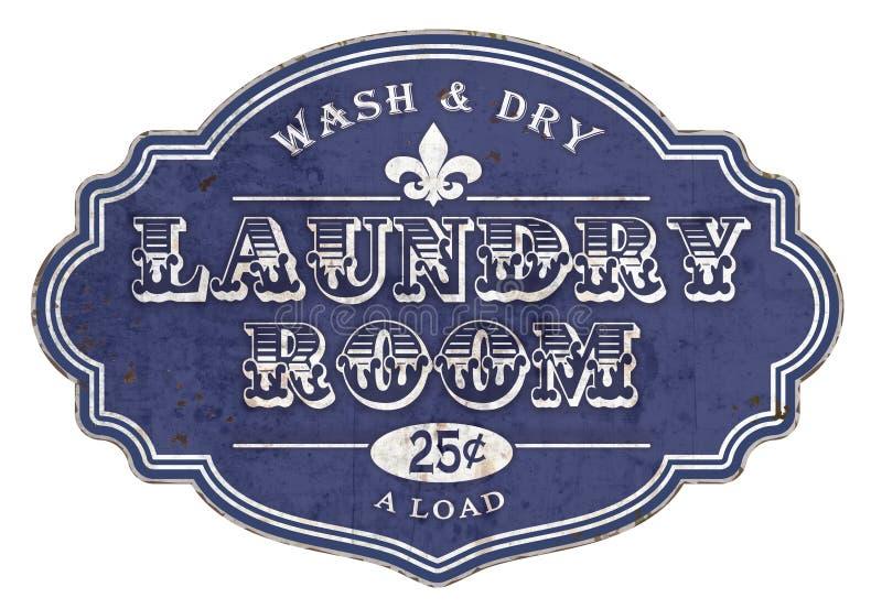 Τρύγος πινακίδων σημαδιών δωματίων πλυντηρίων ελεύθερη απεικόνιση δικαιώματος