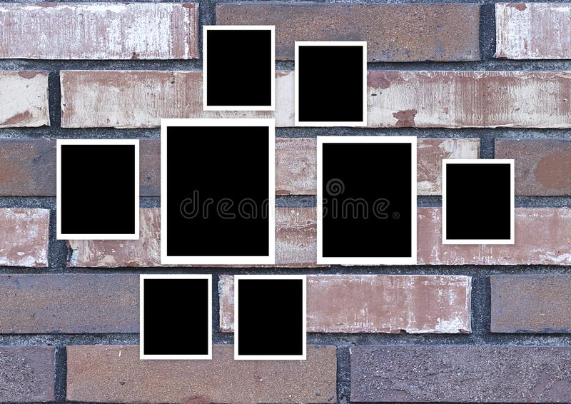 Τρύγος πλαισίων φωτογραφιών στον τοίχο διανυσματική απεικόνιση