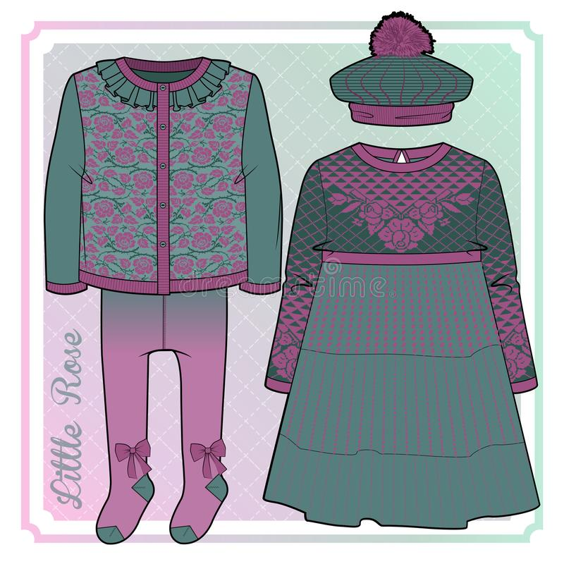 Τρύγος που φαίνεται φόρεμα, beret με το pom pom, jacquard ζακέτα και διακοσμημένα καλσόν απεικόνιση αποθεμάτων