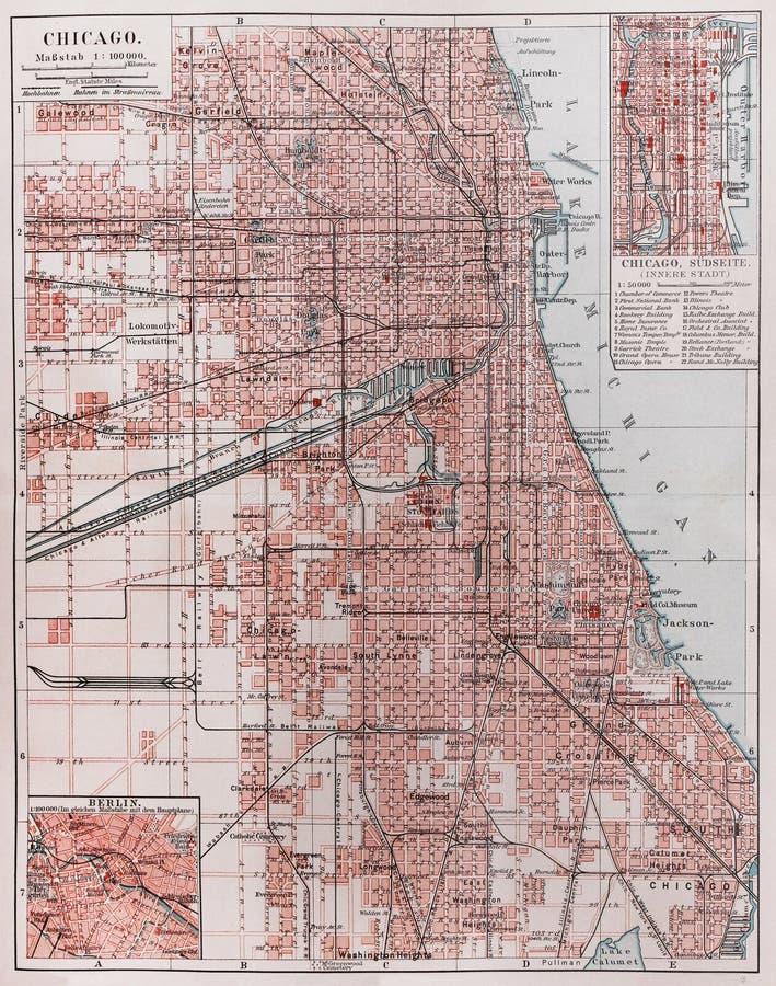 τρύγος χαρτών του Σικάγου στοκ φωτογραφία