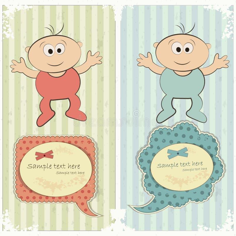 τρύγος ύφους καρτών μωρών διανυσματική απεικόνιση