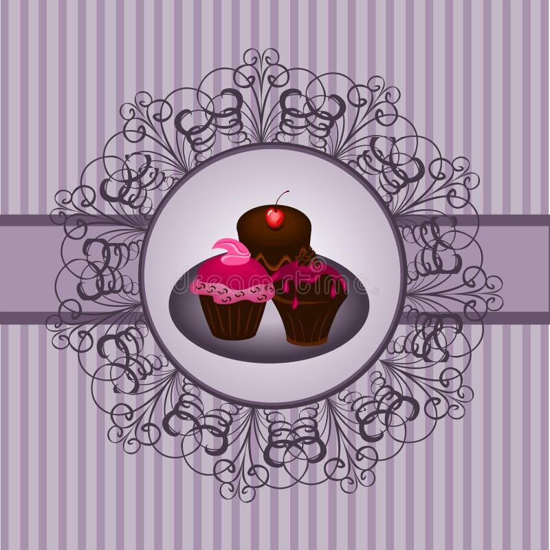 τρύγος 2 cupcake απεικόνιση αποθεμάτων