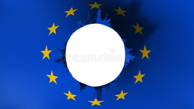 Τρύπα που κόβεται στη σημαία της Ευρώπης ελεύθερη απεικόνιση δικαιώματος