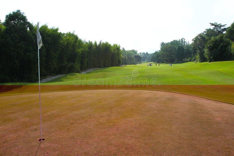 Τρύπα που μαρκάρεται με την άσπρη σημαία στην περιοχή γκολφ στοκ φωτογραφία με δικαίωμα ελεύθερης χρήσης