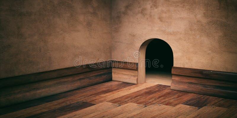 Τρύπα σπιτιών ποντικιών στον επικονιασμένο τοίχο, το ξύλινο πάτωμα και να περιζώσει, διάστημα αντιγράφων τρισδιάστατη απεικόνιση ελεύθερη απεικόνιση δικαιώματος