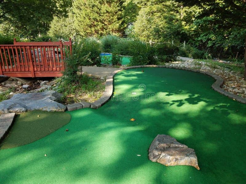 Τρύπα στο μικροσκοπικό γήπεδο του γκολφ με την πράσινη τεχνητή χλόη και chipmunk στοκ εικόνες