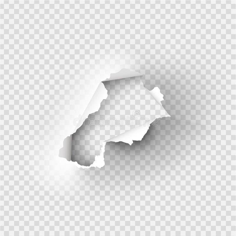 Τρύπες που σχίζονται στο έγγραφο για διαφανή διανυσματική απεικόνιση