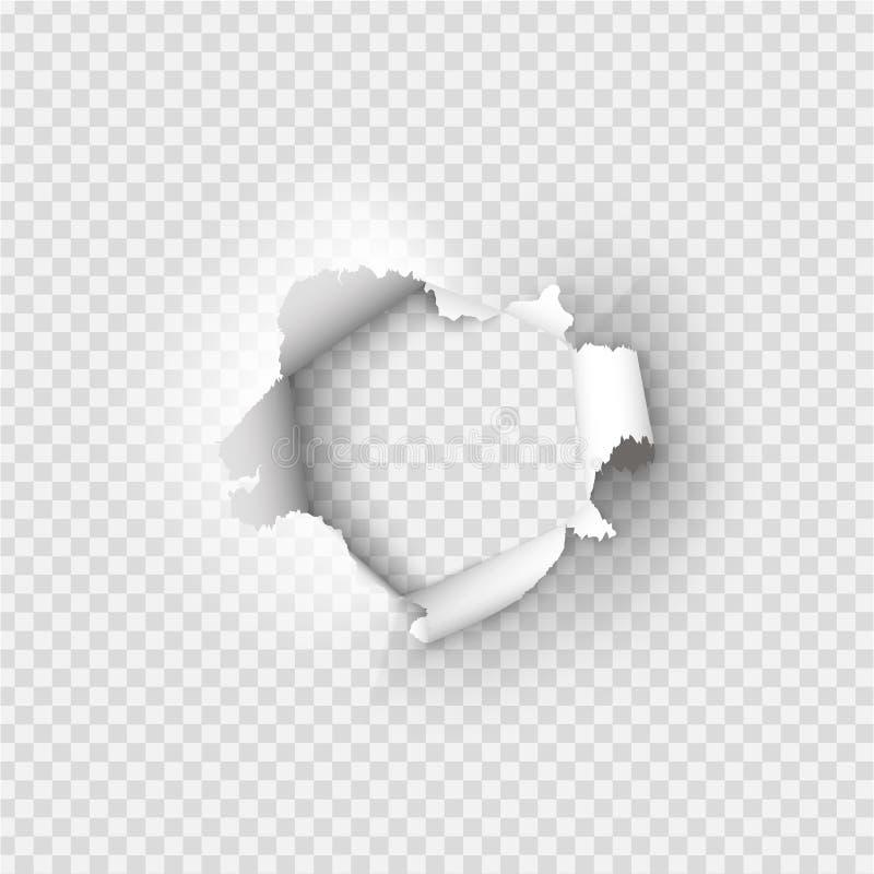 Τρύπες που σχίζονται στο έγγραφο για διαφανή ελεύθερη απεικόνιση δικαιώματος