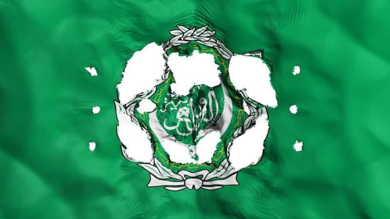 Τρύπες στη σημαία Αραβικού Συνδέσμου απεικόνιση αποθεμάτων