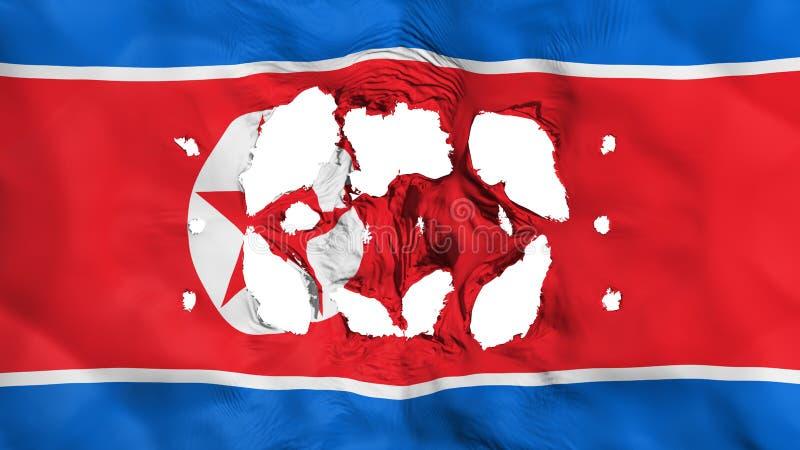 Τρύπες στη σημαία Βόρεια Κορεών ελεύθερη απεικόνιση δικαιώματος