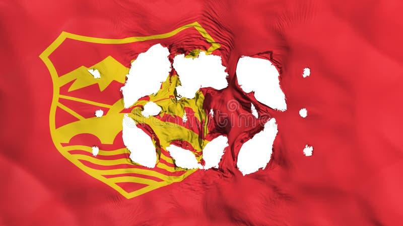 Τρύπες στη σημαία πόλεων των Σκόπια απεικόνιση αποθεμάτων