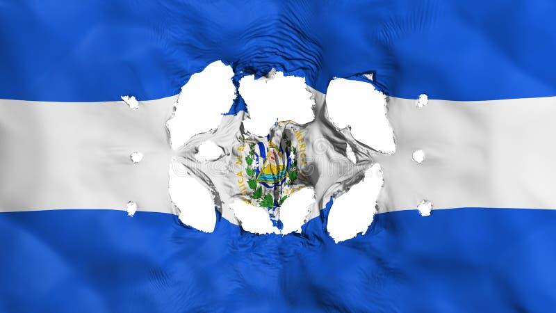 Τρύπες στη σημαία του Ελ Σαλβαδόρ ελεύθερη απεικόνιση δικαιώματος
