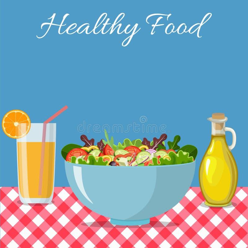 Τρώγοντας τις σαλάτες σε σας υγιείς ελεύθερη απεικόνιση δικαιώματος