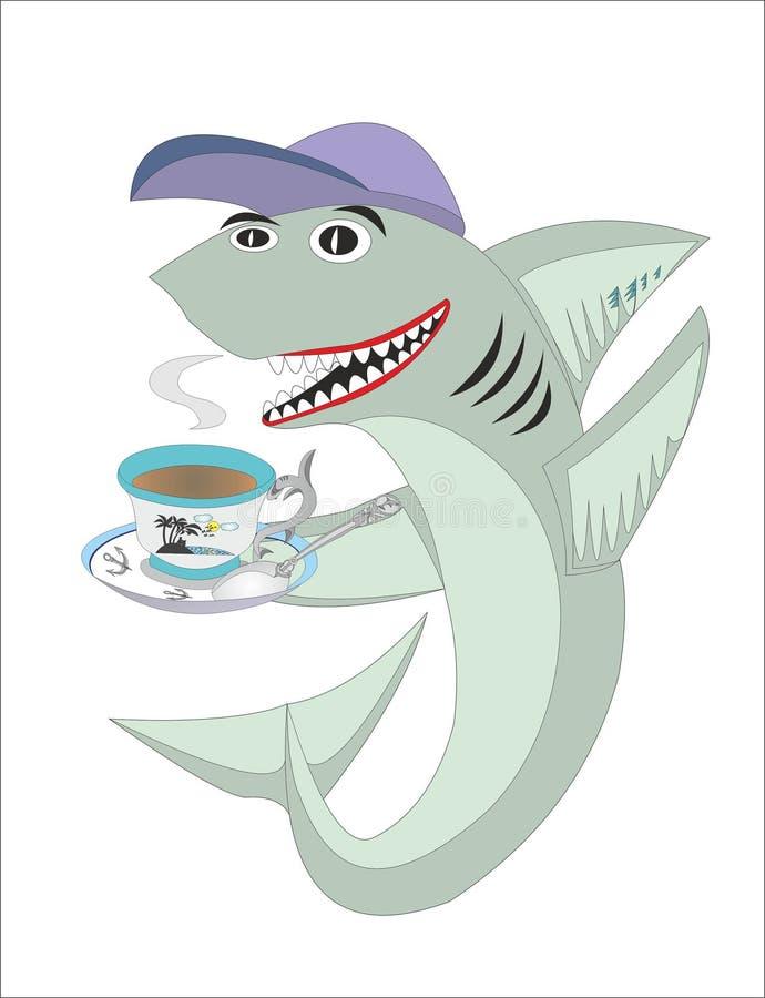 Τσάι ή καφές predlogoyi καρχαριών διανυσματική απεικόνιση