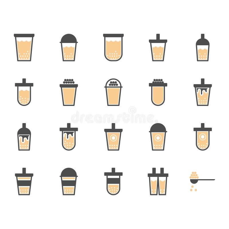 Τσάι γάλακτος φυσαλίδων στο σύνολο εικονιδίων glyph r απεικόνιση αποθεμάτων