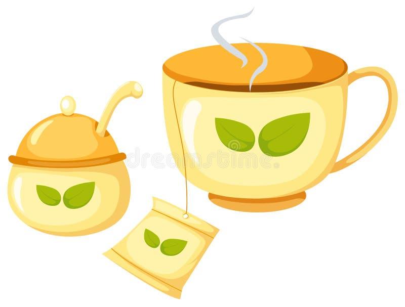 τσάι ζάχαρης φλυτζανιών ελεύθερη απεικόνιση δικαιώματος